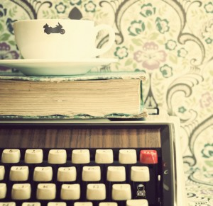 Gold Wing Coffee Cup and Typewriter