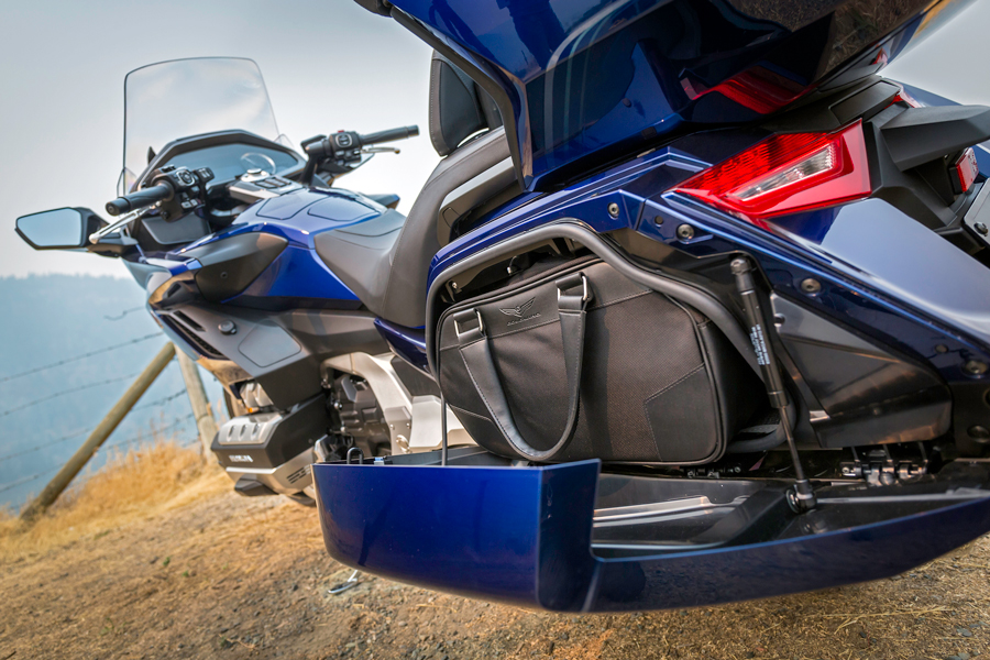 Rear three quarter view of blue 2018 Honda Gold Wing